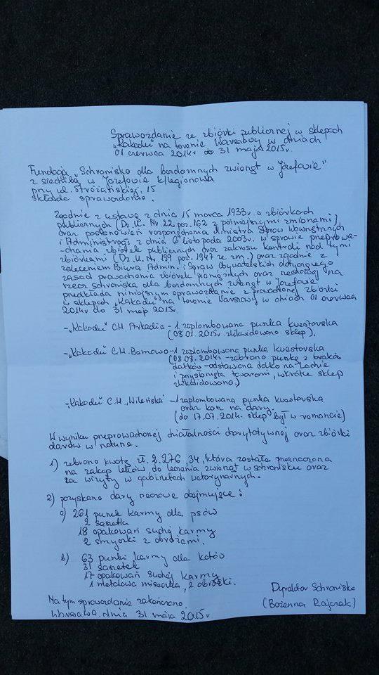 sprawozdanie ze zbiórki publicznej w Kakadu